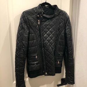 NWT BALMAIN black leather moto jacket 46